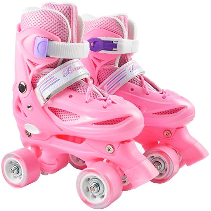 Patins à roulettes pour enfants taille réglable Double rangée patins deux lignes rouleau en polyuréthane chaussures de Skate enfant adolescent 4 roues Patines chaussures IB03