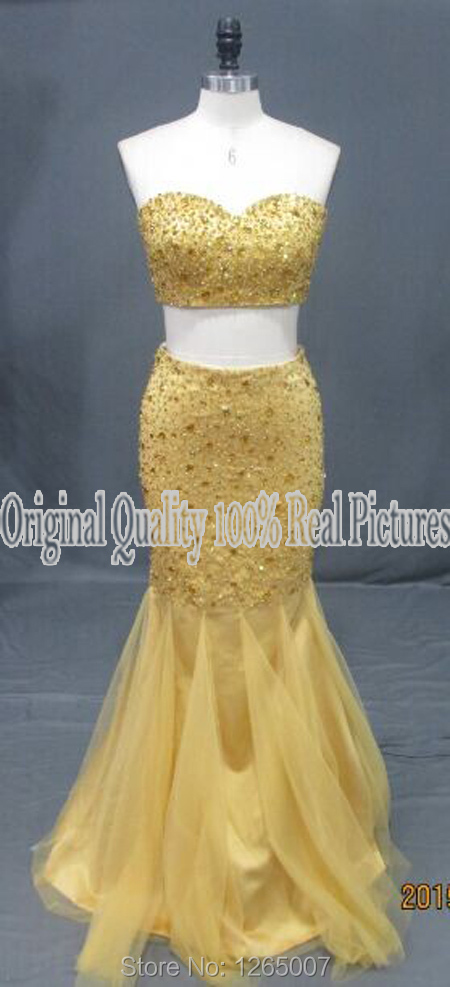Gold Beaded Glitter Diamond Tulle Long