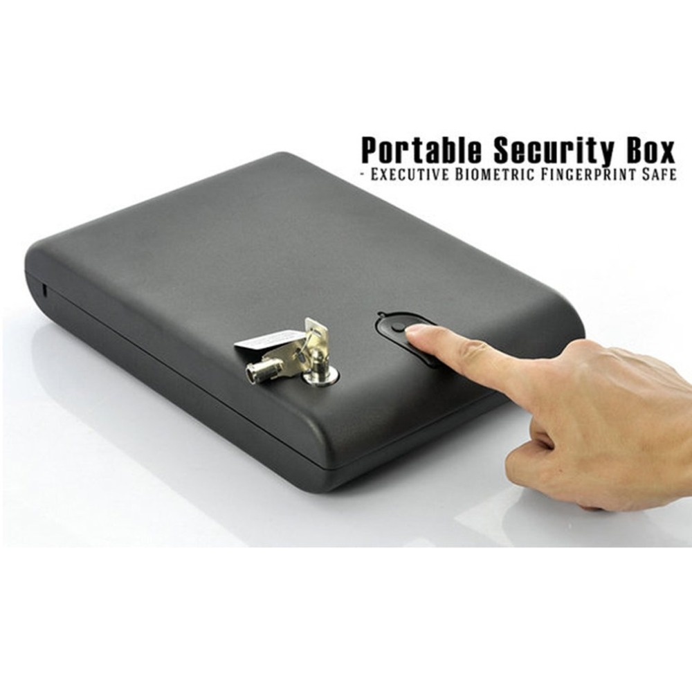 OS120B Portable Pistol Box Scratch-type Fingerprint & Key Lock 2-in-1 Safety Box Valuables Jewelry Storage Case