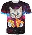 Летний стиль женщины мужчины 3d футболку кошка ест тако пицца одежда пространство галактики майка harajuku футболка Большой размер S-3XL