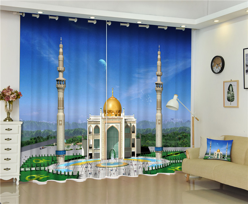 2017 Islam Church Blackout Window Drapes Luxury 3D Curtains For Living room Bed room Office Hotel Home Wall Tapestry2017 Islam Church Blackout Window Drapes Luxury 3D Curtains For Living room Bed room Office Hotel Home Wall Tapestry