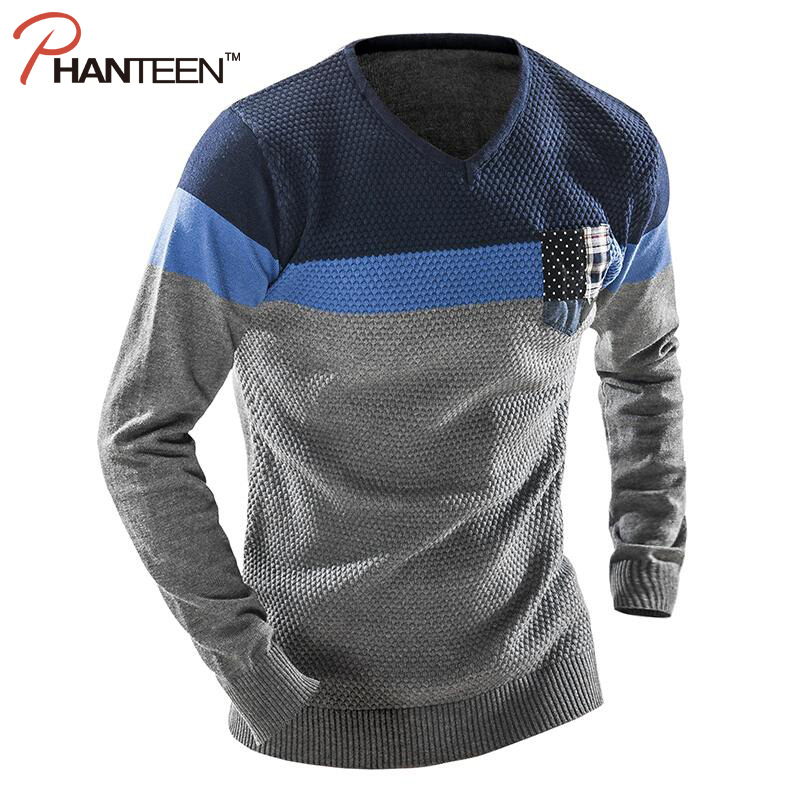 V-Neck Long Sleeve Patchwork Man Sweater Fitness Thicken Casual Pullover Pocket Design Slim Fashion Men Knitwear