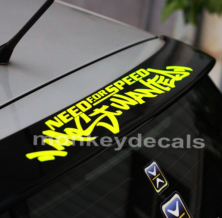 Car styling windshield decal Need for speed most wanted 57cm x 9.7cm motorcycle car truck ebike vinyl reflective stickers