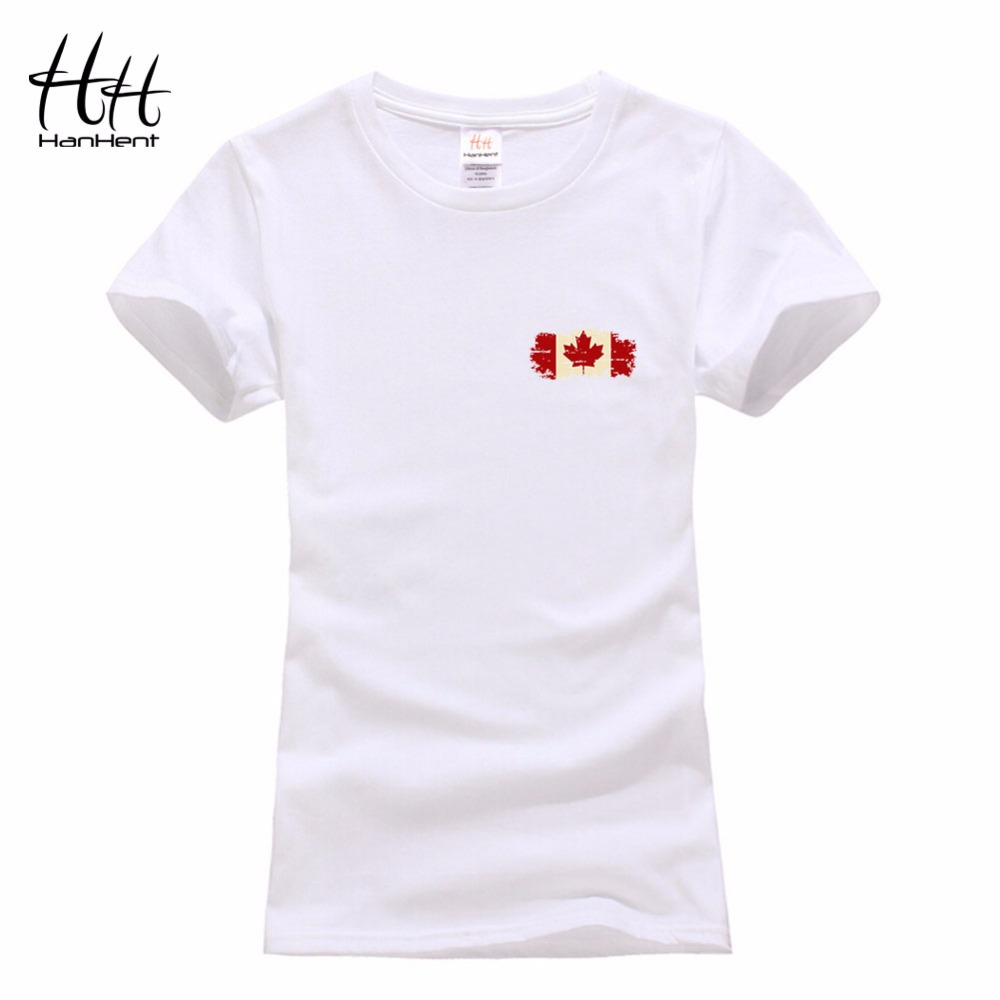 Hanhent 2016 summer women t shirt red printed maple leaf for Made in canada dress shirts