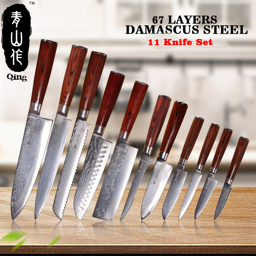 QING 11-Peças 67-Camada VG10 Japonês Damasco Faca Utensílios De cozinha Em Aço Damasco Alta Tenacidade Cor Punho de Madeira faca de cozinha