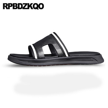 Shoes Slip On Slippers Fashion Runway Black Slides Waterproof Men Sandals Leather Summer Open Toe Casual Water 2018 Beach Flat
