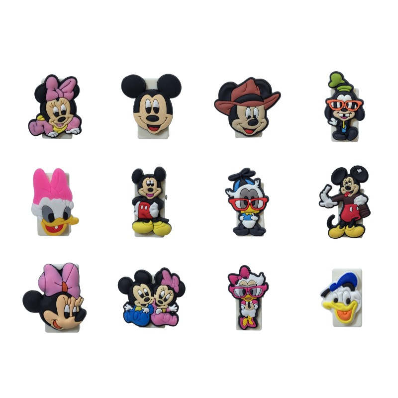 1pcs Mickey Cartoon Paper Clips For Books School Office Supply Cute Minnie Bookmarks USB Phone Cable Clips DIY Accessory Gift