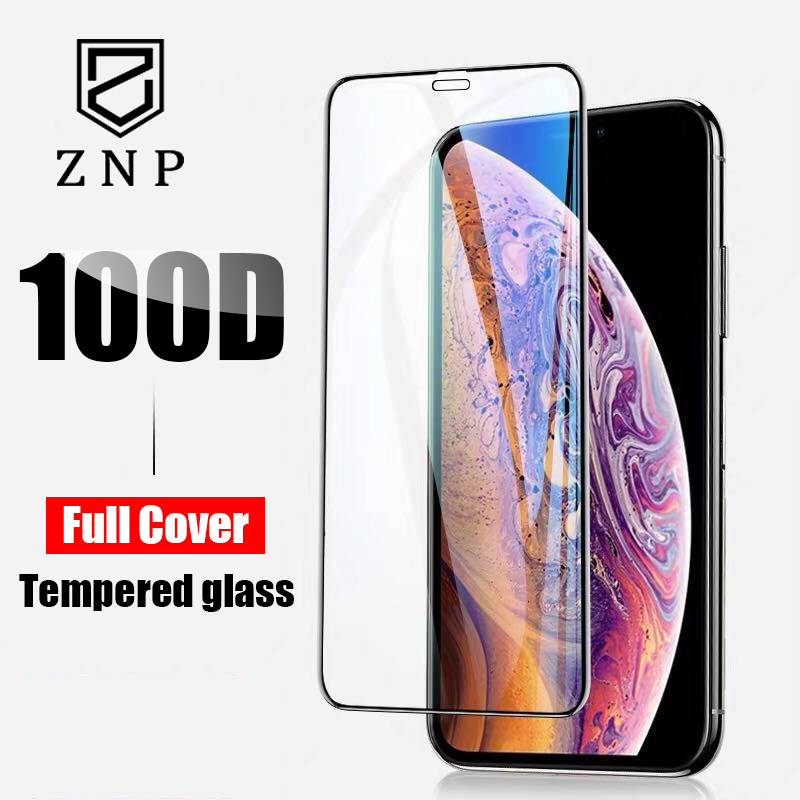 ZNP 100D Protective Glass for iPhone 7 Screen Protector iPhone 8 Xr Xs Xs Max Tempered Glass on iPhone X 6 6s 7 8 Plus Xs Glass-in Phone Screen Protectors from Cellphones & Telecommunications