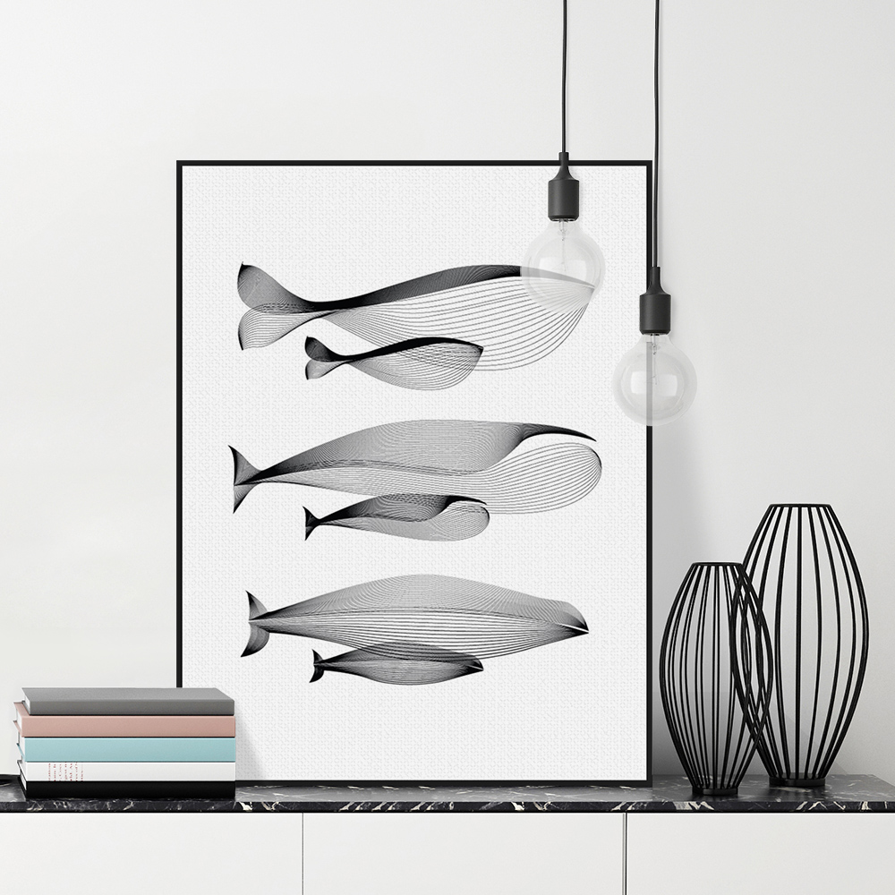 Modern Minimalist Black White Abstract Animals Whale Family s