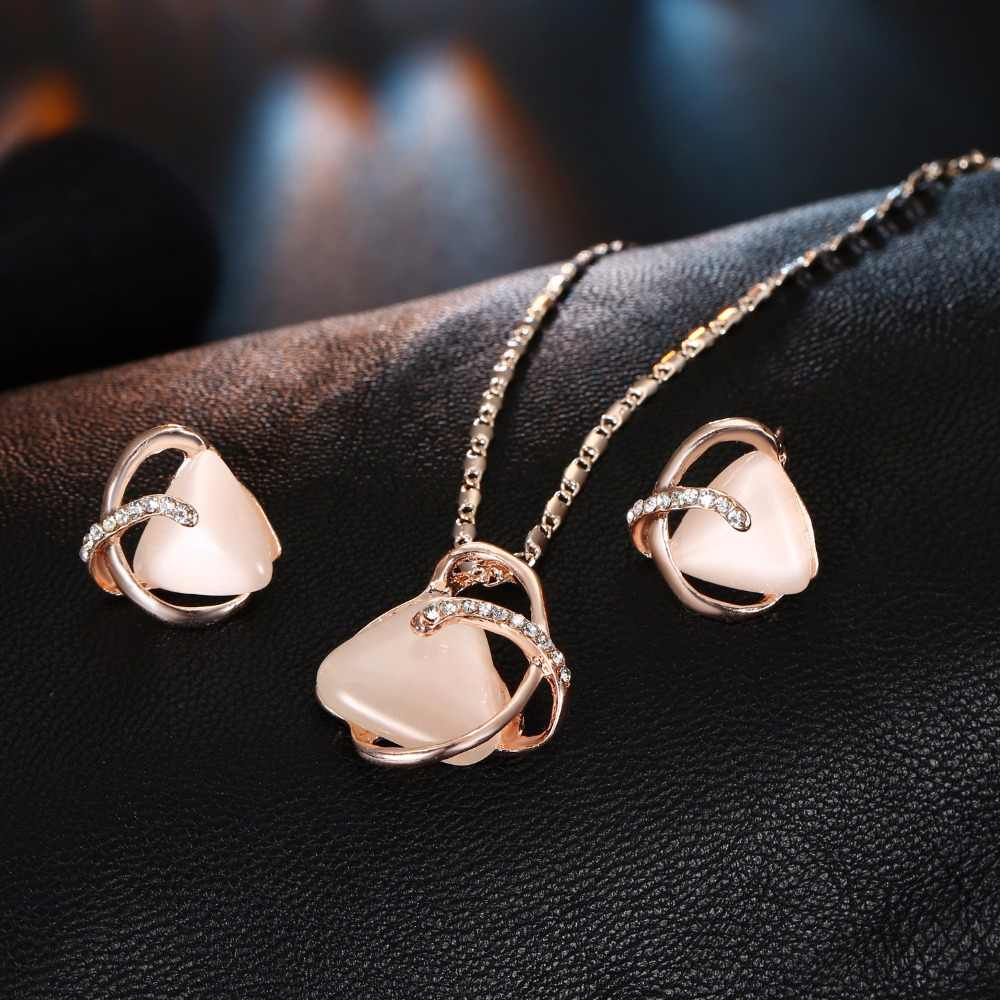 AILEND Geometry Crystal Pendant Necklace Set Nigeria Jewelry Set Fashion Bride Necklace Women Earrings Jewelry Party Gifts