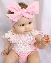 Cute newborn baby girls bodysuit lace floral pink bodysuit jumpsuit headband outfits sunsuit clothes.jpg 250x250