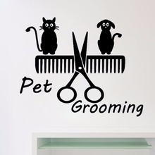 Dog Cat Shop Comb Art Vinyl Sticker Home Decor Removable Wall Decal Pet Grooming Salon Decoration Self Adhesive Wallpaper S262