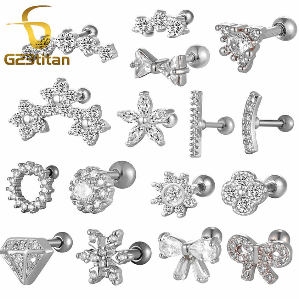 G23titan Silver Color Titanium Crystal Ear Studs Ear Tragus Helix Piercings Rings Industrial Barbell Body Jewelry Earrings