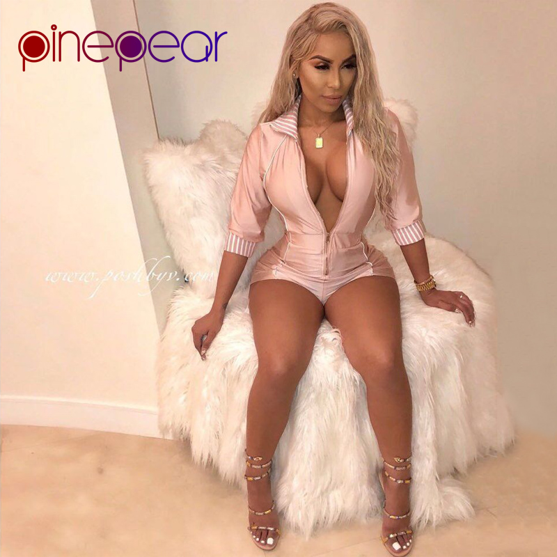 PinePear Long Sleeve Cute Pink Party Playsuits 2019 Spring Female Sexy Zip Deep V-Neck Club Overalls Women Slim Short   Jumpsuits