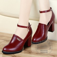Boots Square Chunky Heel Ankle Strap Leather Brand Round Toe High