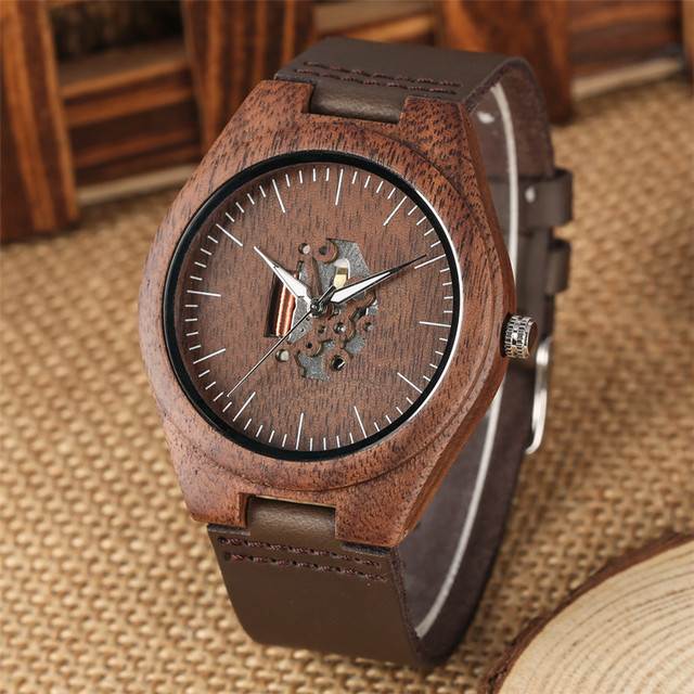 Coffee Brown Lovers Wood Watch Creative Arts Hollow Couple Timepiece Casual Men's Genuine Leather Watches Lady Wristwatches Gift 5
