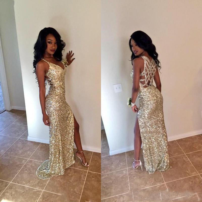 Gold Sequins Long Prom Dresses Sexy Thigh High Slits Magnetic Halter Vestidos De Fiesta Hollow Back Mermaid Prom Gowns