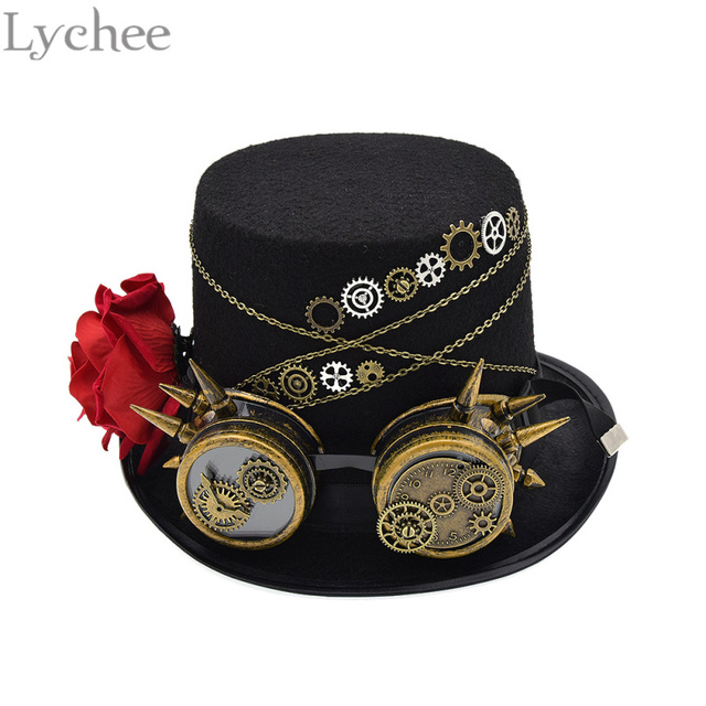 06be3915d77 Lychee European Vintage Women Steampunk Hat Rose Top Hats With Goggles  Vintage Retro Cosplay