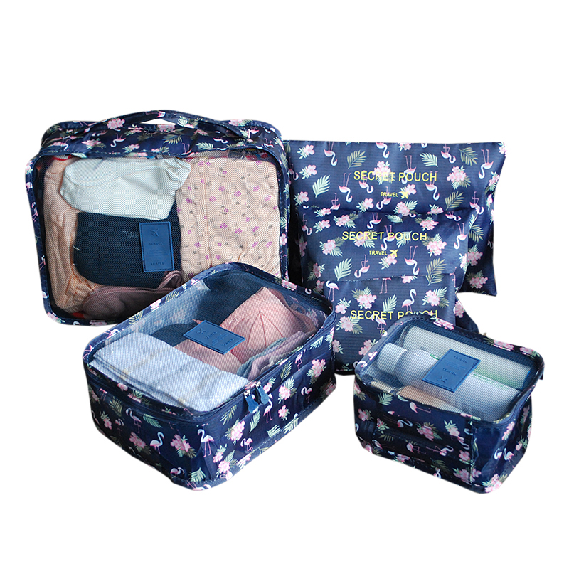 6Pcs/Set Women's Oxford Flamingo Travel Bags Waterproof Traveling Packing Cube Luggage Organizer Suitcase Accessories Supplies