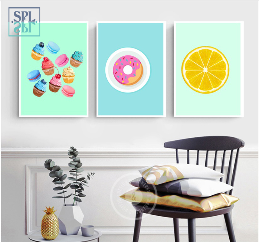 SPLSPL Boys And Girls Room Decoration Cute Cake Dessert Wall Pictures Canvas Painting And Poster For Living Room No Frame