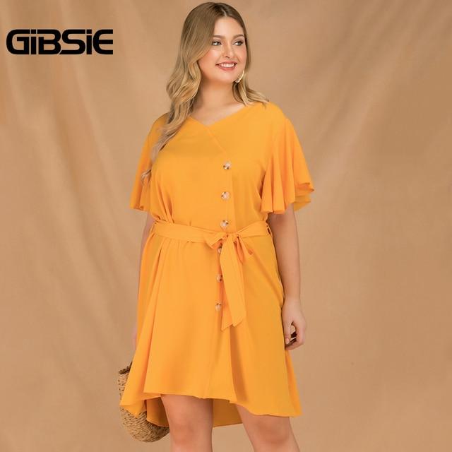 GIBSIE Plus Size Elegant V-Neck Butterfly Sleeve Button Dress Women 2019 Summer Boho Casual Belted Solid Midi Dress Vestidos
