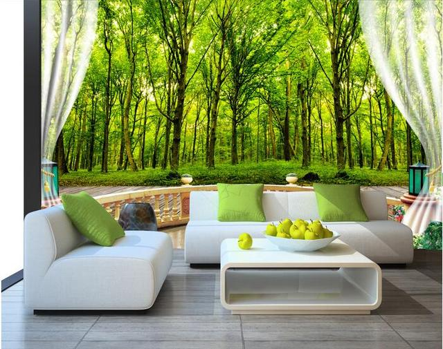 3d room wallpaper custom mural non woven wall sticker green forest