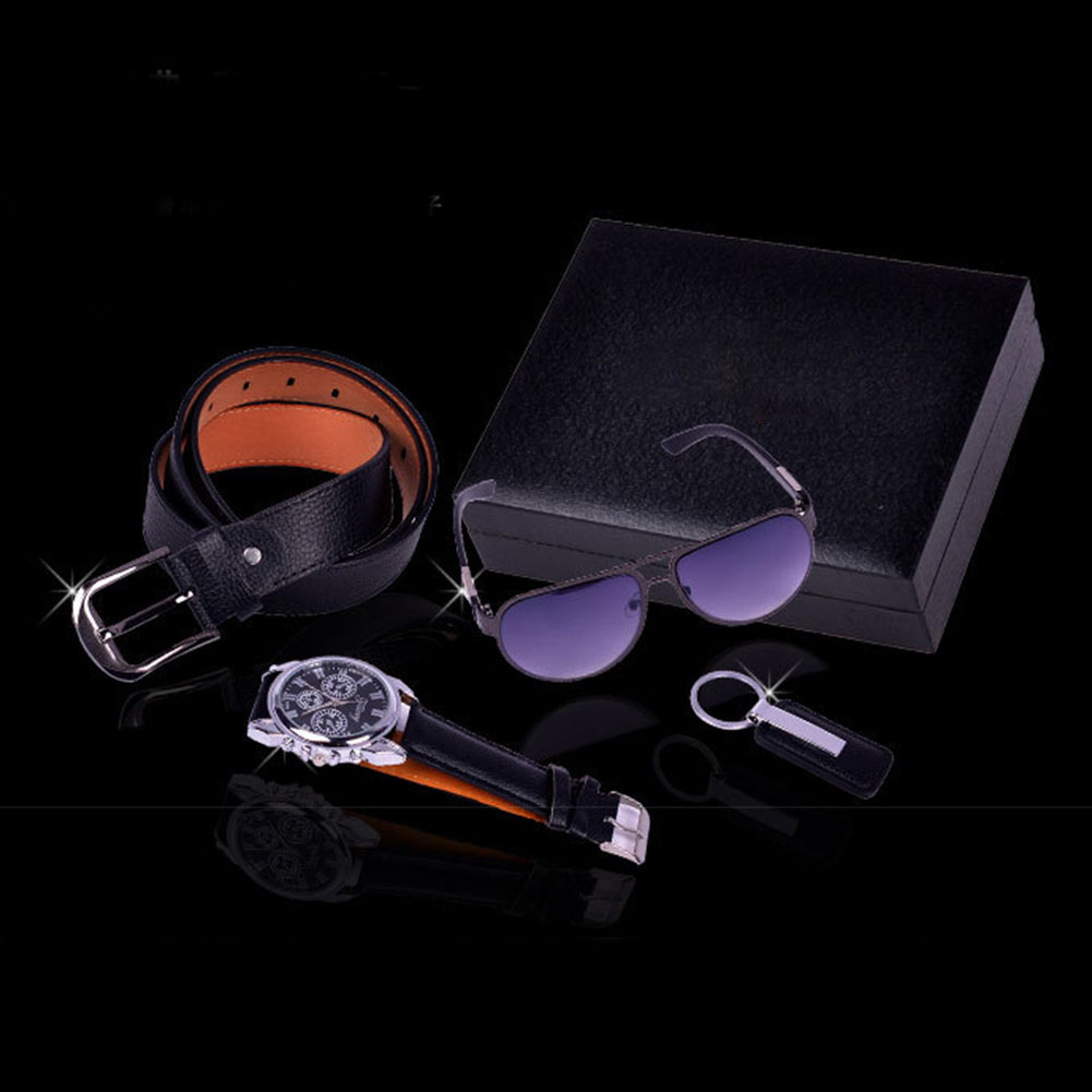 4Pcs Men Black Gift Set Fashion Watch Keychain Birthday Box Alloy Boyfriend Belt Sunglasses Colleague Valentine's Day Father