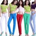 2016 Новые Моды для Женщин Карандаш Джинсы Женщина Конфеты Цветные Средний Талия Полная Длина Молнии Slim Fit Тощие Женщины Брюки