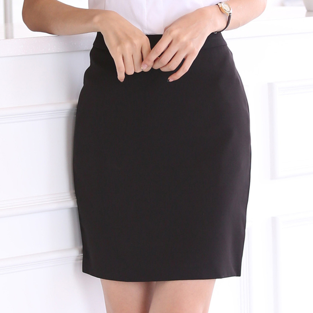Skirts Womens Elegant Women OL Mini Skirt Women High Waist Bodycon Black Skirt Plus Size Faldas Mujer Moda 2019 Pencil Skirt 4XL