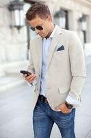 Lanh mới Đến Mens Blazer Giản Dị Phù Hợp Với Hai Nút trang phục homme Slim Fit blazer masculino Bãi Biển Jacket Custom Made 2016