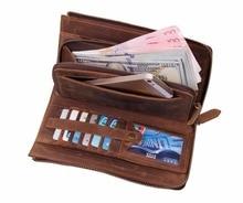 JMD Excellent Genuine Leather Long Cluth Handbag Classic Credit Card Holder Vintage Wallet Business Case For Men 8048B