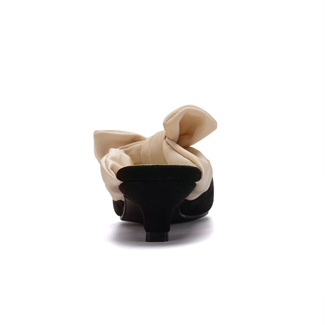Zoe Saldana 2017 Fashion Bandage Pointed Toe Black Med High Heels Bow tie Women Shoes Mules Runway Pumps