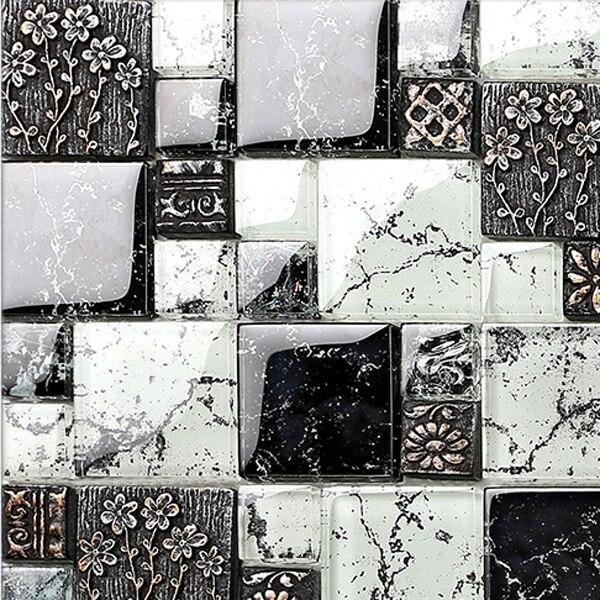 US $203.45 |Cucina backsplashinterior casa decorazione della parete nero  bianco piastrelle di vetro moderno soggiorno piastrelle 3D del modello di  ...