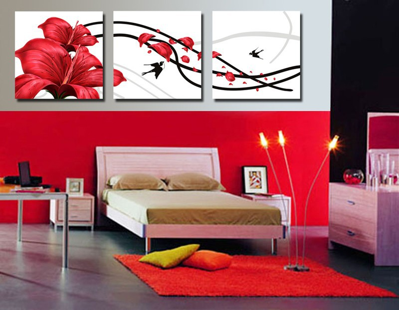 3 Panneaux Art Moderne Peinture Décorative Photo Copie De Toile