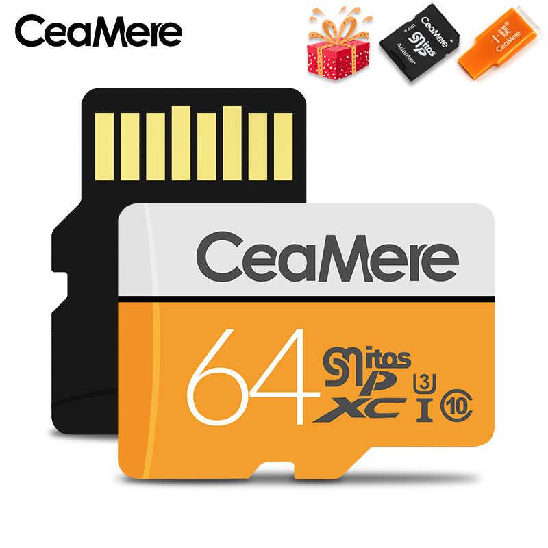CeaMere Micro SD карта класс 10 UHS-1 8 Гб класс 6 16 Гб/32 ГБ U1 64 Гб/128 ГБ/256 ГБ U3 флэш-карта памяти Microsd для смартфона