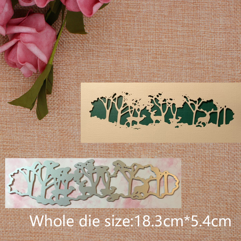 Tree and Deer Metal Cutting Dies Stencil For DIY Scrapbooking Photo Album Decorative Embossing Template Crafts Decor 18 3 5 4cm in Cutting Dies from Home Garden
