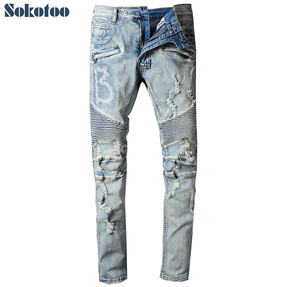 Sokotoo Men's vintage light blue holes ripped biker jeans for motorcycle Casual pleated torn stretch denim slim pants