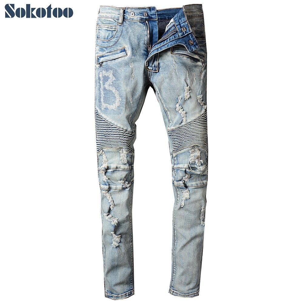Sokotoo ผู้ชาย vintage light blue ripped biker กางเกงยีนส์สำหรับรถจักรยานยนต์สบายๆฉีกขาดยืดกางเกงยีนส์ slim กางเกง-ใน ยีนส์ จาก เสื้อผ้าผู้ชาย บน   1