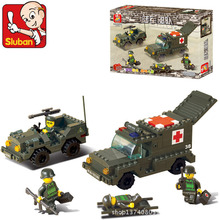 Model building kits compatible with lego city Military Army ambulances 988 3D blocks Educational toys hobbies for children