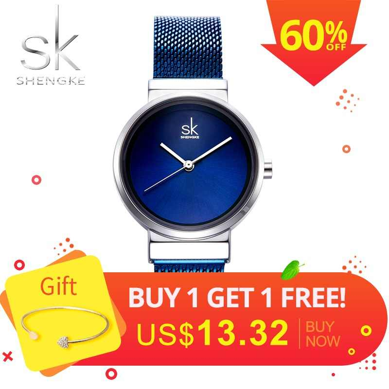 e51991e50349 Shengke azul reloj de pulsera relojes de mujer de lujo de acero marca  señoras cuarzo relojes