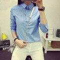 Senhoras Do Sexo Feminino Casual de Algodão Camisa Xadrez de Manga Longa Mulheres Blusa 2017 Verão Fino Outerwear Lapela Shirts Tops Plus Size S-XXL