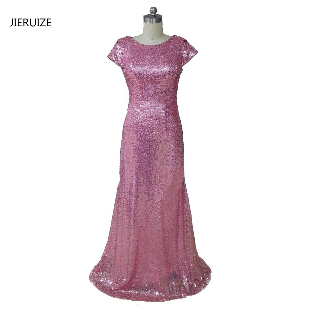 JIERUIZE Pink Sequin Mermaid Bridesmaid Dresses Long 2017 Short Sleeves Backless Wedding Party Dresses Formal Dresses