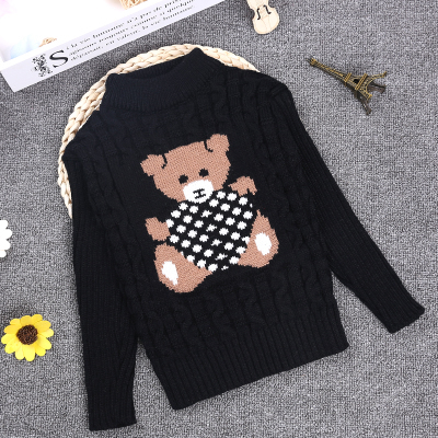 2-10Y O-neck Spring Winter Knitted Boys Black Sweater Full Sleeve Pullover Boys Girls Kids Knitted Winter KC-1547-15