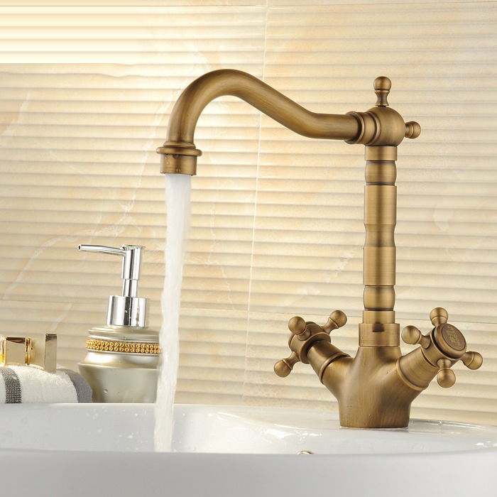 цена на vintage Brass Bathroom Sink Antique Brushed Basin Faucet Deck Mounted Tap Dual Handles Hot and Cold Water Mixer Tap torneira