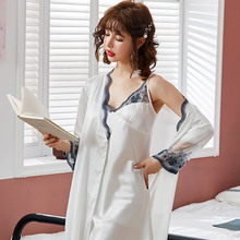 new satin sleepwear female sexy lace nightgown nightdress 2pcs set princess home clothing lounge nuisette femme de nuit