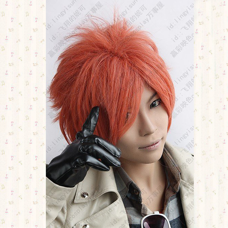 Ouran High School Host Club.Hikaru Hitachiin.599.Orange Red Short Shaggy Anime Cosplay Wig, Cos Wig + Wig Cap