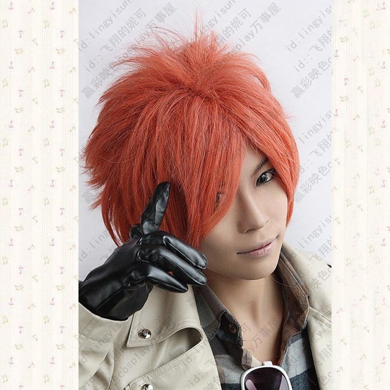 Ouran High School Host Club.Hikaru Hitachiin.599.Orange Red Short Shaggy Anime Cosplay Wig, Cos Wig + Wig Cap