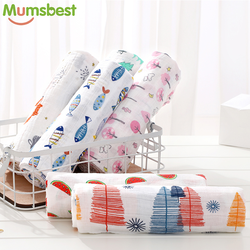 100% Cotton Muslin Baby Swaddles Newborn Blankets Baby Both Towel Colorful Infant Wrap Sleepsack Soft Swaddleme Manta 1PC