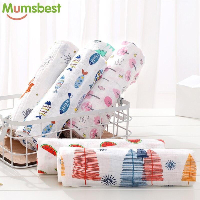 100% algodón de muselina mantas de bebé recién nacido mantas de bebé Toalla de bebé abrigo saco suave Swaddleme Manta 1 unid