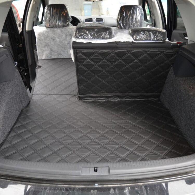 Tapis de coffre de voiture en cuir pu avec dossier arrière pour Volkswagen Golf 6